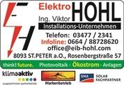 Ing. Viktor Hohl - EIB/KNX-Installationstechnik, Blitzschutzanlagen, Photovoltaik, Alarmanlagen, Elektro-, Fernseh-, SAT und Büromaschinen-Handel, Schulungen