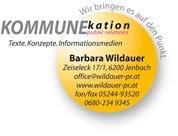 Mag. Barbara Wildauer - Barbara Wildauer, KommunEkation Werbeagentur und Verlag