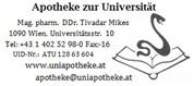 Apotheke zur Universität Mag. pharm. Tivadar Mikes, e.U. Dr. pharm. der Universität Szeged -  Das Unternehmen ist eine öffentliche Apotheke nach österr. Apothekengesetz.